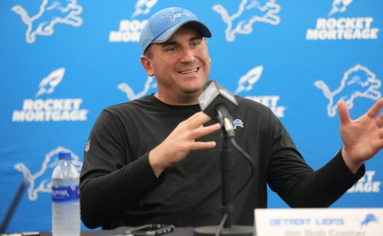 Lions offensive coordinator Jim Bob Cooter talks to the media on Thursday, July 26, 2018., in Allen Park.