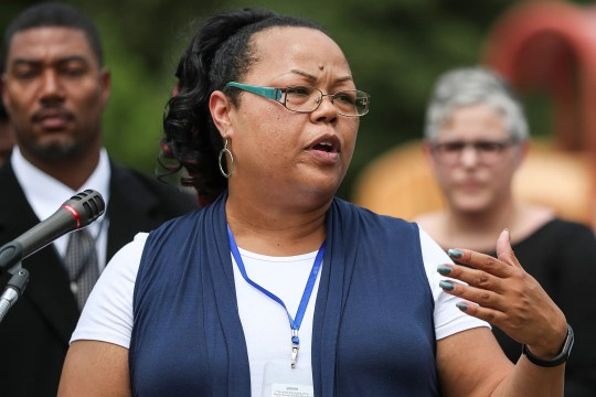 Shonna Majors, Indianapolis' first community violence reduction director, speaks at Washington Park in Indianapolis on Aug. 1, 2018.