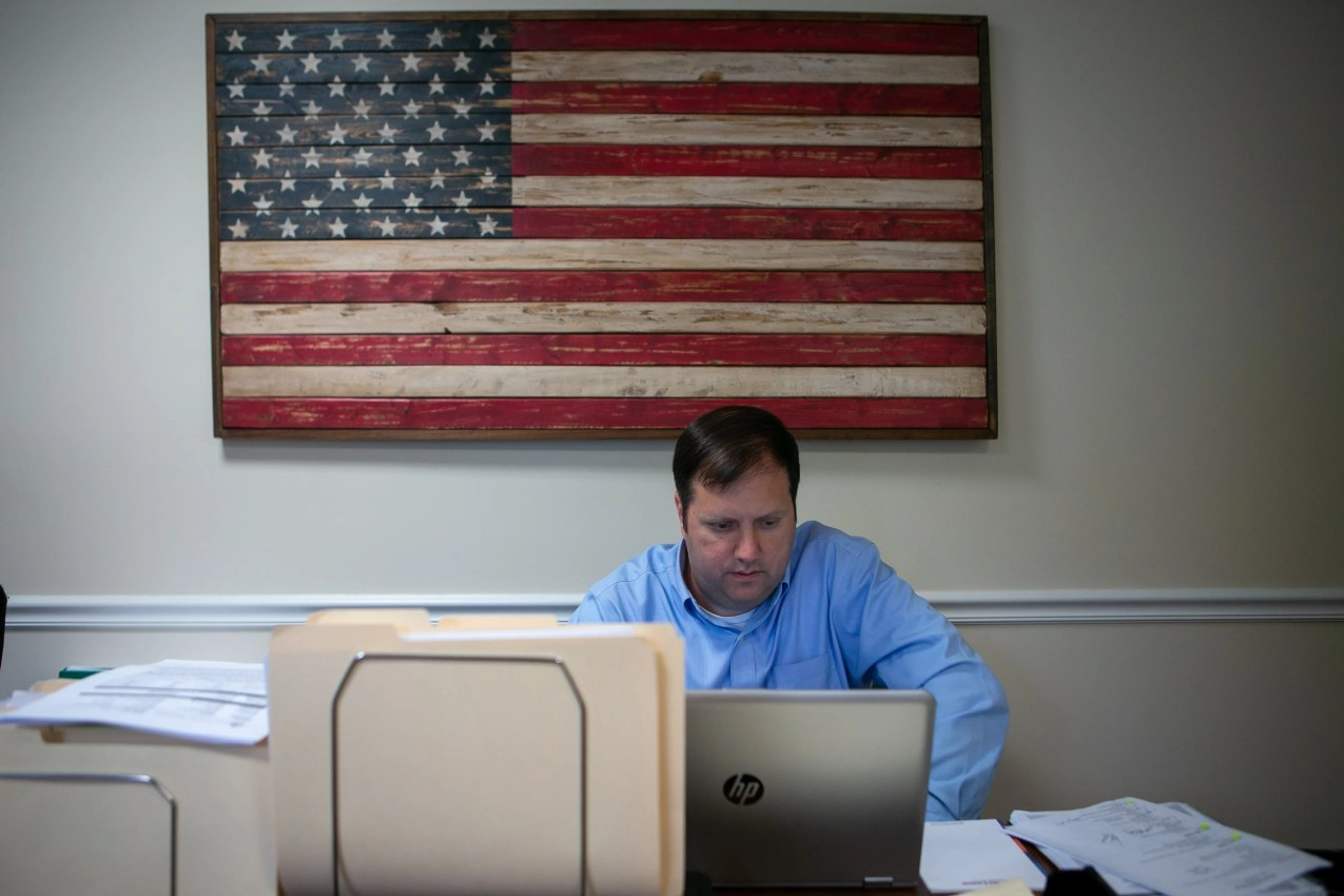 Mortgage loan officer Joseph Rychalsky works at his desk. Mortgage Network Solutions is chosen as the winner of the Small Company category and the special award for New Ideas. The family run company was founded in 2014 and 35 of their 40 employees are in Delaware.