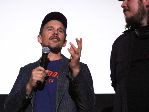 Actor and director Ethan Hawke is apart of a filmmakers group that launched a short film contest aimed to support O'Rourke's bud for the U.S. Senate. Here he is talking to a sold-out theater with friend, musician and first-time actor Ben Dickey, at the start of a screening for the movie 'Blaze' at Alamo Drafthouse Cinema.