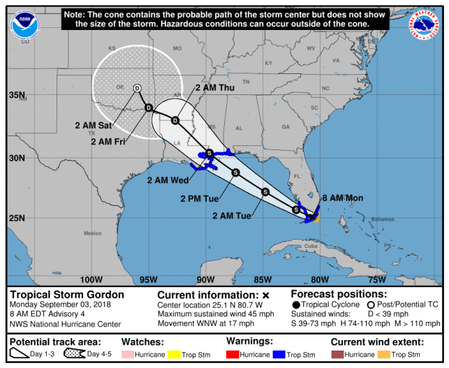 Tropical Storm Gordon hammers South Florida, could strengthen as it aims for Gulf Coast