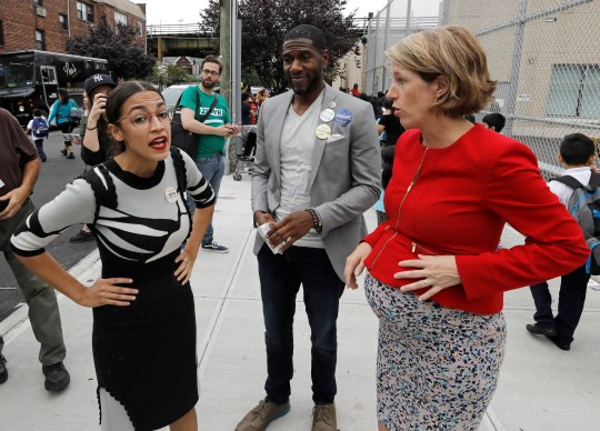 New York City congressional nominee Alexandria Ocasio-Cortez meets potential voters in New York City on Sept. 13, 2018.
