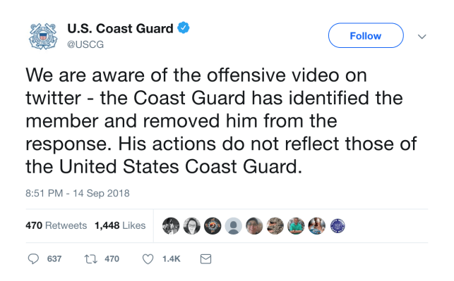Coast Guard member reassigned after he flashed 'offensive' hand gesture on TV