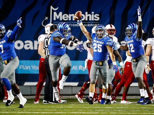 Memphis defender Austin Hall, 25, celebrates a fumble recovery on the Tigers one-yard line against South Alabama during action in Memphis, Tenn., Saturday, September 22, 2018.