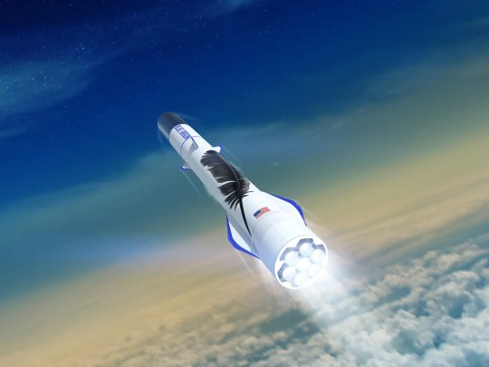 Artist rendering of Blue Origin's New Glenn orbital rocket blasting off, powered by seven BE-4 main engines.