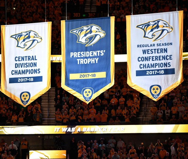 The Predators New Banners Are Raised In Pregame Ceremonies Before The Start Of The Home Opener At Bridgestone Arena In Nashville Tenn Tuesday Oct