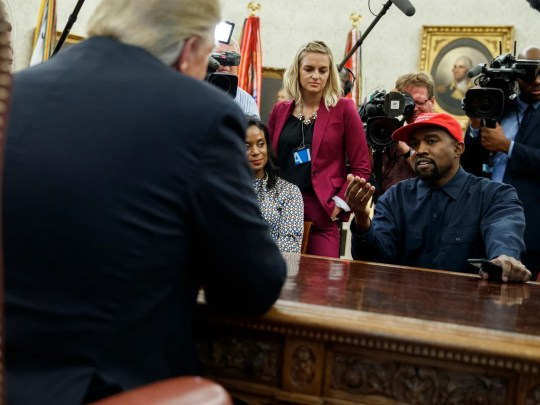 Rapper Kanye West speaks during a meeting in the Oval Office of the White House with President Donald Trump. They discussed one of the president's favorite talking points in touting his administration's success: The record low rate of black unemployment.