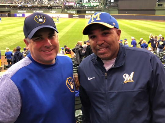 James Flegel (right) used messages for neighbors to get enough pocket money to come to the County Stadium. He has welcomed the Brewers since then. He came with a friend, Greg Lecher.