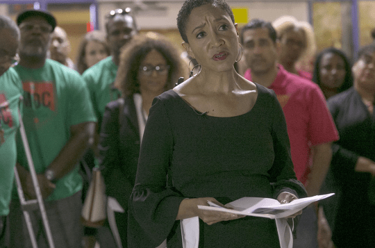 Janelle Woods, founder of the Black Mothers Forum, holds a news conference  at the Kyrene School District's office in Tempe on Oct. 23, 2018, to address claims of racial discrimination and bullying.