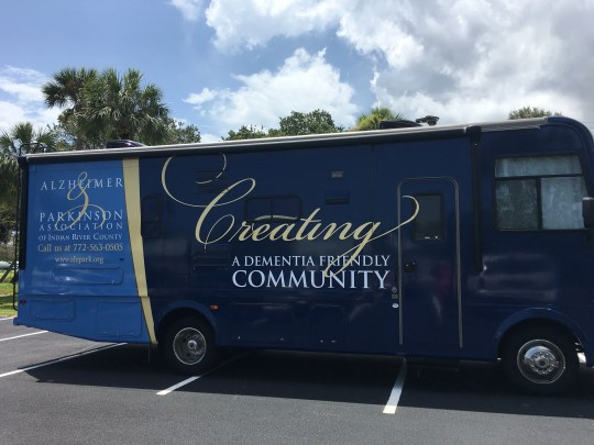 """The Dementia Friendly Community Initiative is made possible in part by a grant from Indian River Impact 100 to the Alzheimer & Parkinson Association, which was used to buyan RV, referred to as a """"rolling classroom."""""""