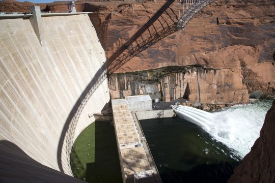 Water is released from Glen Canyon Dam through a bypass tube on Nov. 5, 2018, during a high-flow experiment.
