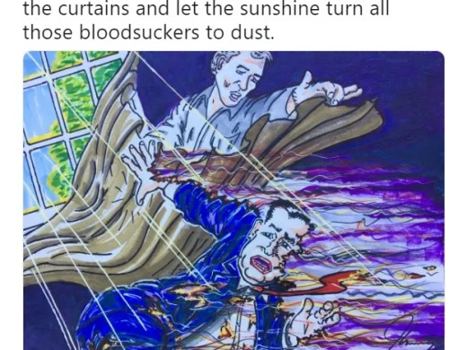 This is Jim Carrey's political drawing that depicts Ted Cruz as a vamprie being killed by Beto O'Rourke.