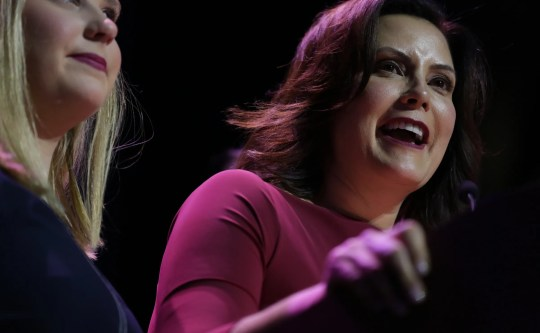 Gretchen Whitmer celebrates her victory during a celebration at the Sound Board of MotorCity Casino in Detroit, Tuesday, November 6, 2018.