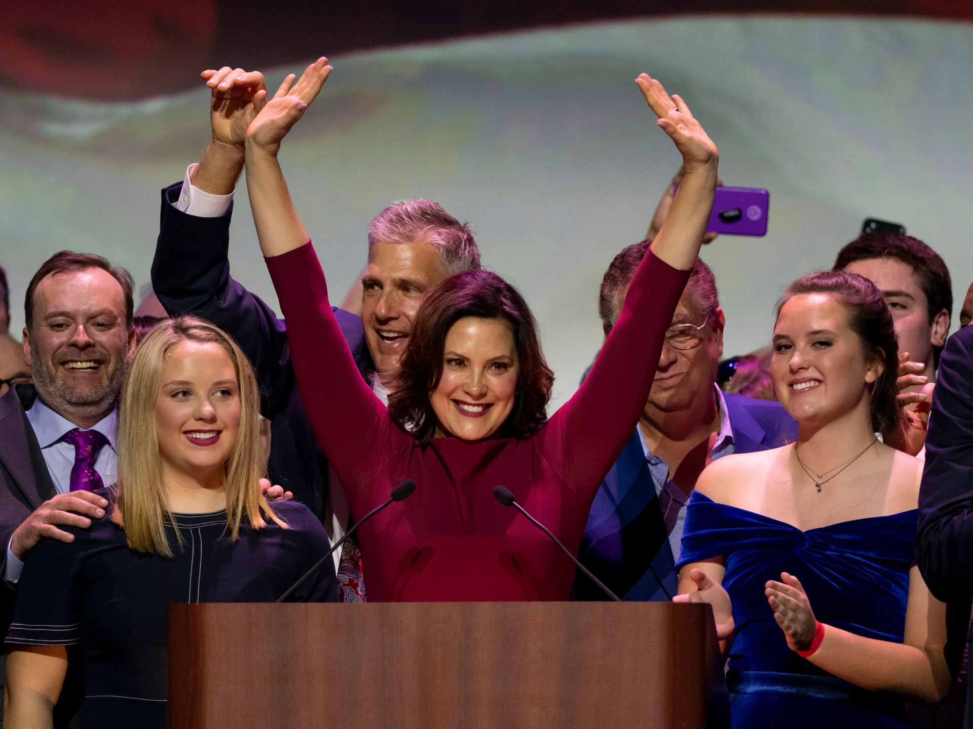 Gretchen Whitmer gives her acceptance speech after being elected the next governor of Michigan. The Michigan Democratic Party held its election night event at the Sound Board Theater at Motor City Casino in Detroit, November 6, 2018.