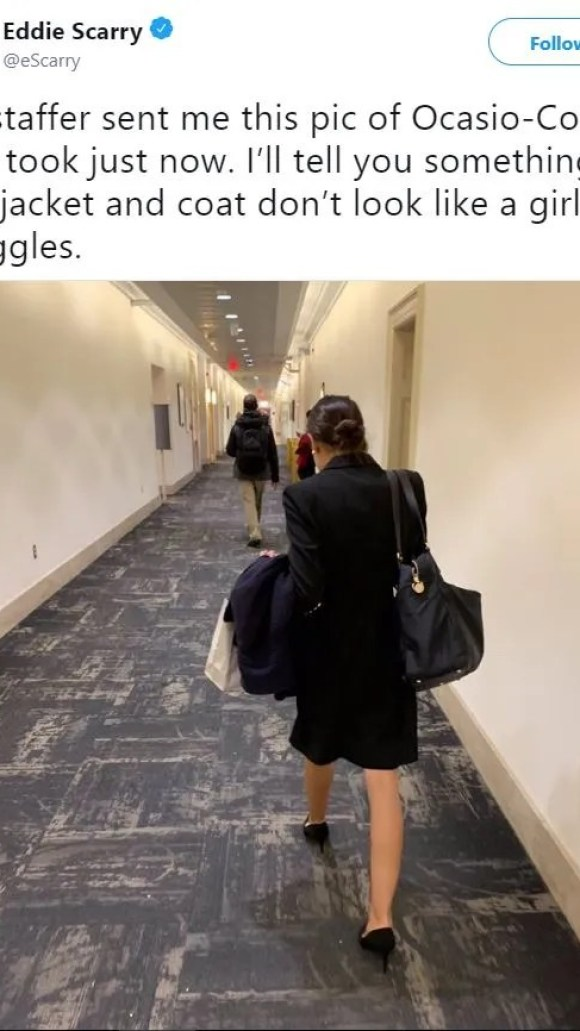 A Washington Examiner reporter was criticized Thursday after posting a photo of Alexandria Ocasio-Cortez's backside with a comment, appearing to criticize her comments that she was struggling since she would go for three months without pay.