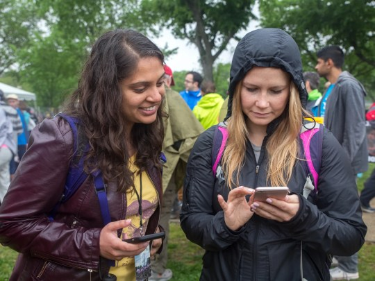 Elizabeth Sorrell (left) is focused on shopping green this holiday season. Here she is at a March For Science on April 22nd 2017, Washington DC, with fellow Audubon colleague  Preeti Desai.   .