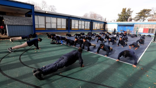Each day, students at the San Miguel Academy of Newburgh gather for calisthenics before lunch. The San Miguel Academy, a fifth through eighth grade school, was created 12 years ago to serve low-income and at-risk youth in Newburgh. The school came to be with the help of a group of Chappaqua residents who assisted Father Mark Connell, who at the time was an assistant Pastor at Church of St Mary's in Chappaqua, in it's creation.