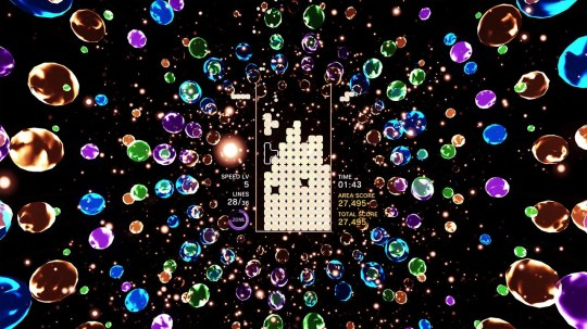 """""""Tetris Effect,"""" which is playable in 4K on PlayStation 4 and in virtual reality on the PSVR headset, and adds a new level of immersion to the classic puzzle formula."""