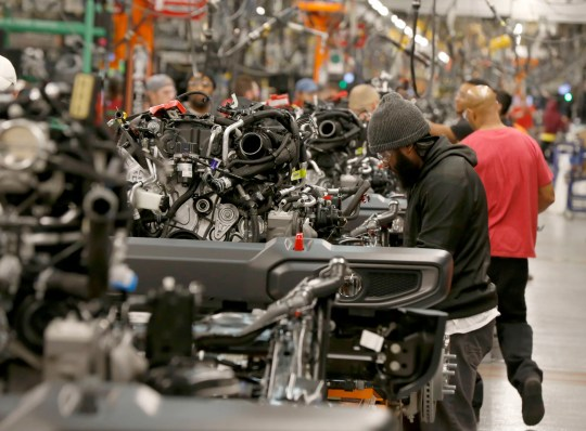 The Jeep Wrangler assembly line at the Toledo North assembly plant in Toledo, Ohio, Friday, November 16, 2018.