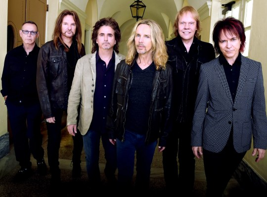 "Chuck Panozzo, Ricky Phillips, Todd Sucherman, Tommy Shaw, James ""J.Y."" Young and Lawrence Gowan. Portrait shoot at Macon City Auditorium on October 4, 2014 in Macon, Georgia."