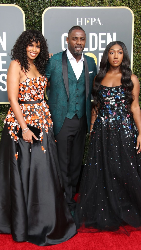Idris Elba, center, Sabrina Dhowre, left, and Isan Elba