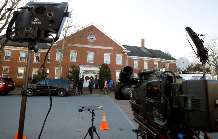 The media began gathering early outside the Nantucket courthouse to cover Kevin Spacey expected at his arraignment on a sex-crime charge, Jan. 7, 2019, on Nantucket Island, Mass.Steven Senne/ AP