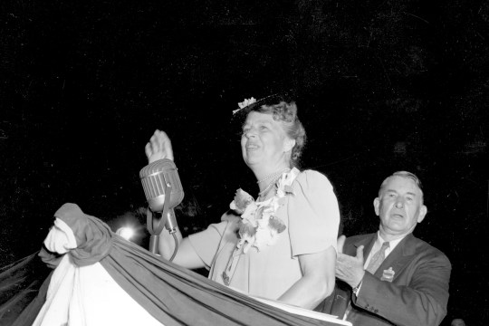 First Lady Eleanor Roosevelt acknowledges the crowd at the Democratic National Convention at Chicago, Ill., July 18, 1940.