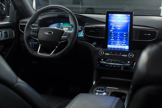 The dashboard of the new 2020 Ford Explorer ST is seen at Stage 3 Studios in Warren on Tuesday, January 8, 2019.