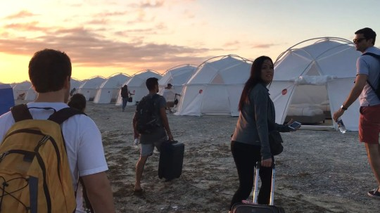 """This image from Netflix's """"Fyre"""" documentary show what the """"villas"""" looked like at Fyre Fest."""