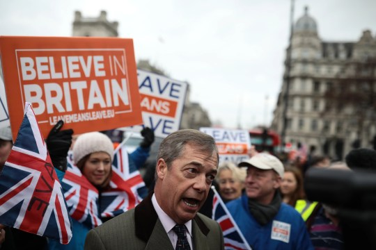 Crowds hold pro-Brexit signs and Union Jack flags near former UKIP Leader Nigel Farage outside Britain's Parliament in London on Jan. 15, 2019.