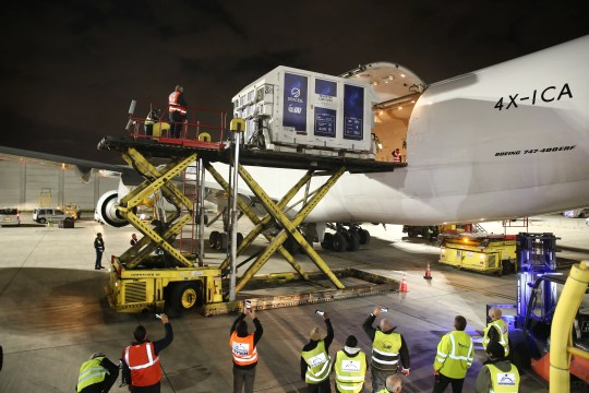 Israel's first lunar lander is loaded into a Boeing 747 at Ben Gurion Airport before its flight to Orlando International Airport on Friday, Jan. 18, 2019.
