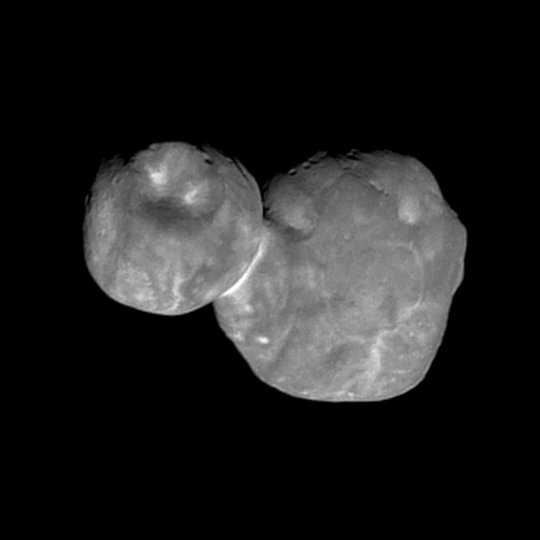 """A new image of the """"space snowman"""" reveals differences in the geologic character its two lobes."""