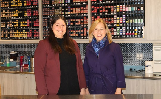 From left to right: Randee Holz, supervisor of academics at the Somerset County professional and technical schools and Marcia Bird, director of professional beauty programs at Raritan Valley Community College.