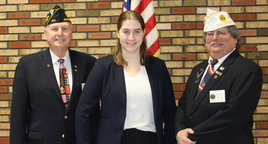 From left to right: Larry Bishop, Chairman of the Oratorical Contest, Madison Ianniello, and Daniel Dunn, Chairman of the District Oratorical Contest.