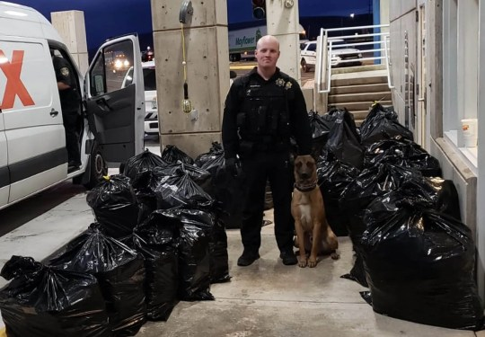 The Arizona Department of Transportation seized 1,113 pounds of marijuana inside a fake delivery van during a traffic stop, Tuesday, Feb. 6, 2018.