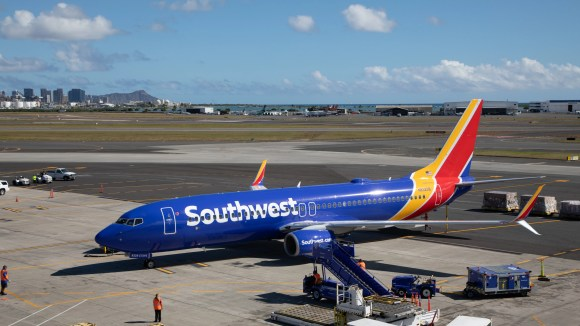 A Southwest Airlines jet aircraft is first seen on 5 February 2018 in Hawaii after the Boeing 737-800 lands in Honolulu as part of the courier's authorization process with the FAA to provide future scheduled service to the state.