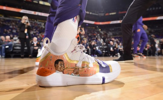 "Kelly Oubre Jr. sports ""NOLA-themed"" Nike sneakers in celebrating Black History Month as the Phoenix Suns forward is from New Orleans."