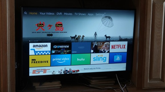The home screen of the Amazon branded Fire TV Edition TVs. Notice a certain shopping channel atop the lineup, followed by another Amazon shopping channel?