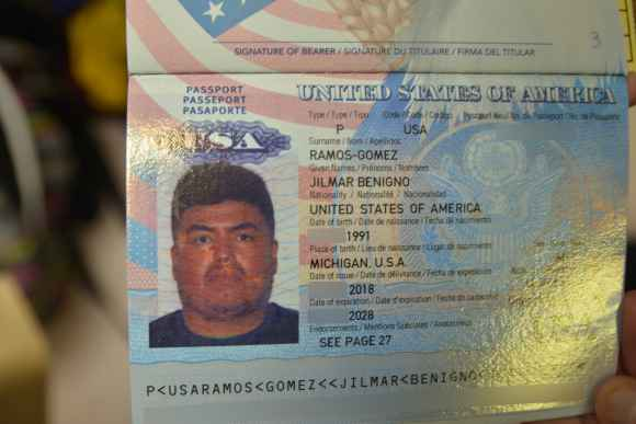 Passport of Jilmar Ramos-Gomez (with some information redacted by ACLU Michigan). Ramos-Gomez of Michigan is a US-born citizen, but was detained by ICE for a few days in Nov. 2018, drawing criticism from the ACLU and Michigan Immigrant Rights Center.