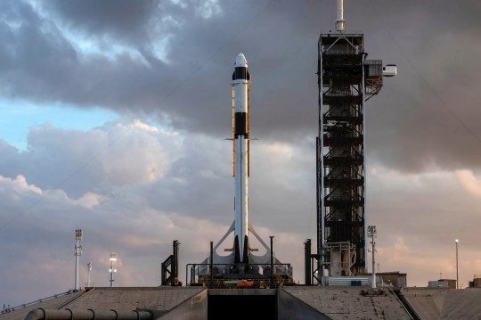 A SpaceX Falcon 9 rocket with the company's Crew Dragon attached, stood at Kennedy Space Center's Launch Complex 39A on Jan. 3, 2019. The rocket underwent checkouts prior to the liftoff of Demo-1, the inaugural flight of one of the spacecraft designed to take NASA astronauts to and from the International Space Station.
