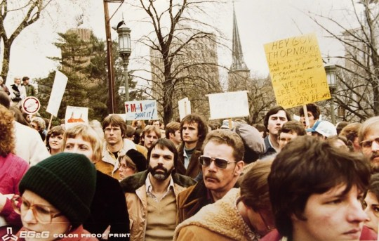 Many photos of protesters demonstrating against the nuclear power industry are included in the National Archives files on the accident at Three Mile Island. The political and social fallout associated with the disaster were often blamed or credited for the lack of any new nuclear power plants being ordered for decades.