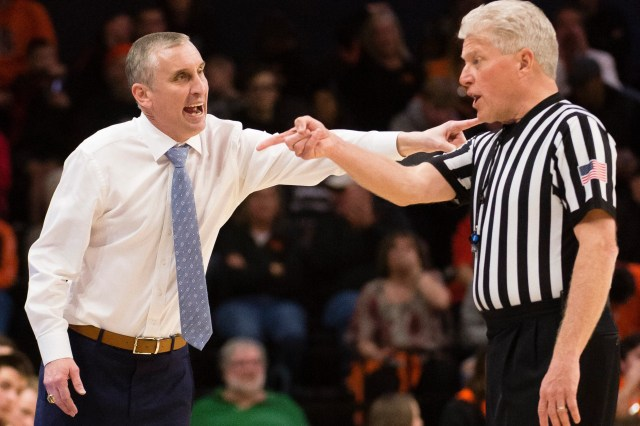 Mar 3, 2019; Corvallis, OR, USA; Arizona State Sun Devils head coach Bobby Hurley questions an official during the second half against the Oregon State Beavers at Gill Coliseum. The Arizona State Sun Devils beat the Oregon State Beavers 74-71.