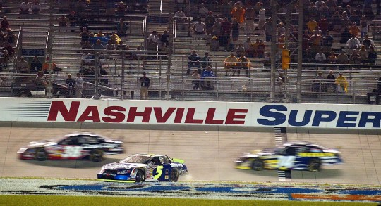 After leading much of the race after the restart, Kyle Busch (5) turns on the front end at Nashville Superspeedway with only a few laps to go, bringing out the last yellow flag that won Jason Leffler in June 2004 .