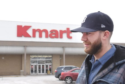 Zack Lloyd speaks about his connection with Kmart over the years on Monday outside the Kmart in Warren.