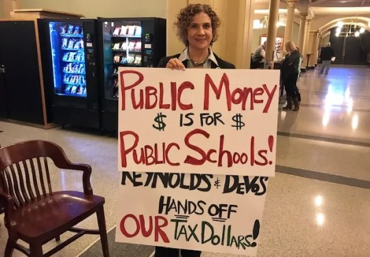 Iowa Sen. Claire Celsi, D-Des Moines, said the tax credit scholarships plan discussed by U.S. Secretary of Education Betsy DeVos and Gov. Kim Reynolds Friday would weaken Iowa's public school system.