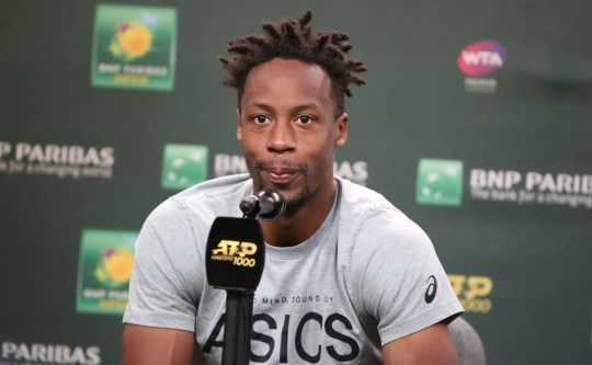 Gael Monfils speaks to members of the media about his withdrawal from his match against Dominic Thiem at the BNP Paribas Open in Indian Wells on Thursday, March 14, 2019.