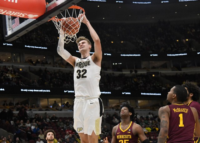 Mar 15, 2019; Chicago, IL, USA; Purdue Boilermakers center Matt Haarms (32) dunks the ball against the Minnesota Golden Gophers during the second half in the Big Ten conference tournament at United Center. Mandatory Credit: David Banks-USA TODAY Sports