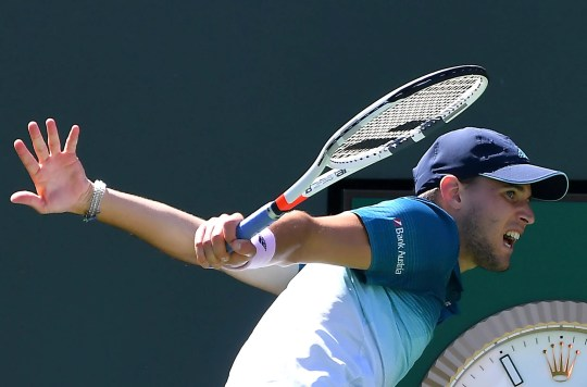Dominic Thiem celebrates after he defeated Milos Raonic at the BNP Paribas Open.
