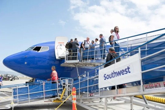 Southwest Airlines' inaugural Hawaii flight arrives at Daniel K. Inouye International Airport in Honolulu.