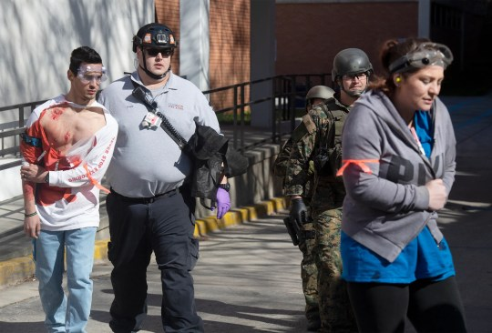 Emergency personnel from Clemson University and surrounding areas participate in an active shooter exercise at Daniel Hall Tuesday, Mar. 19, 2019.
